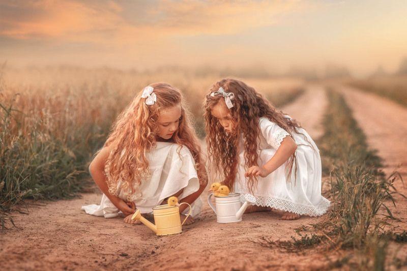 дети, девочки, утята, природа, детская photo preview