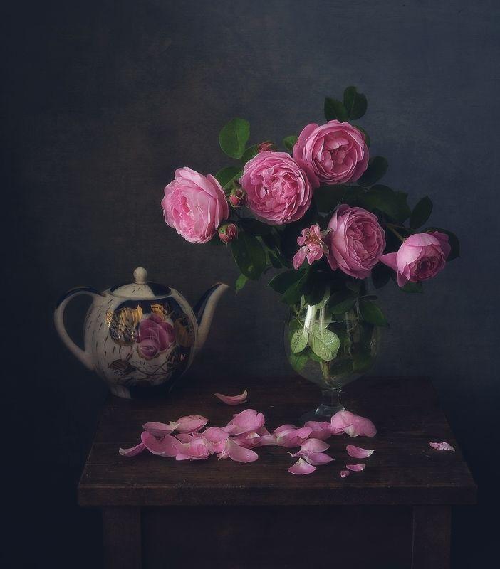 натюрморт,композиция,цветы,розы,чайник розовый... фото превью