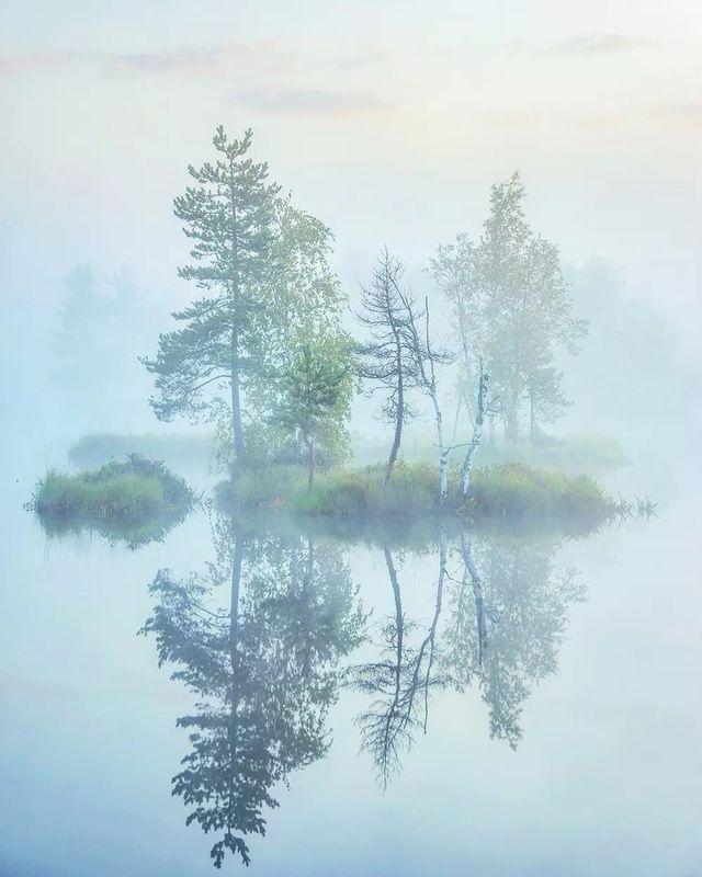 утро, туман, остров, рассвет Воздухphoto preview