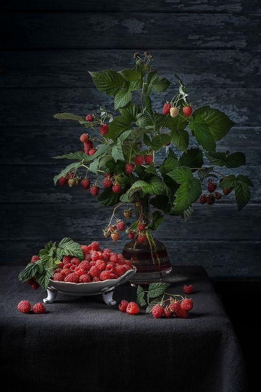 натюрморт, малина, букет, лето, рустик, ягоды, ваза Малиновый букетphoto preview