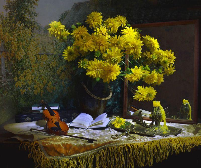 still life,натюрморт,золотые шары,  цветы, фото натюрморт,скрипка, ноты,  лето,   август, подсвечник, керамика,  настроение, зеркало, отражение, книги Я всё время вспоминаю...photo preview