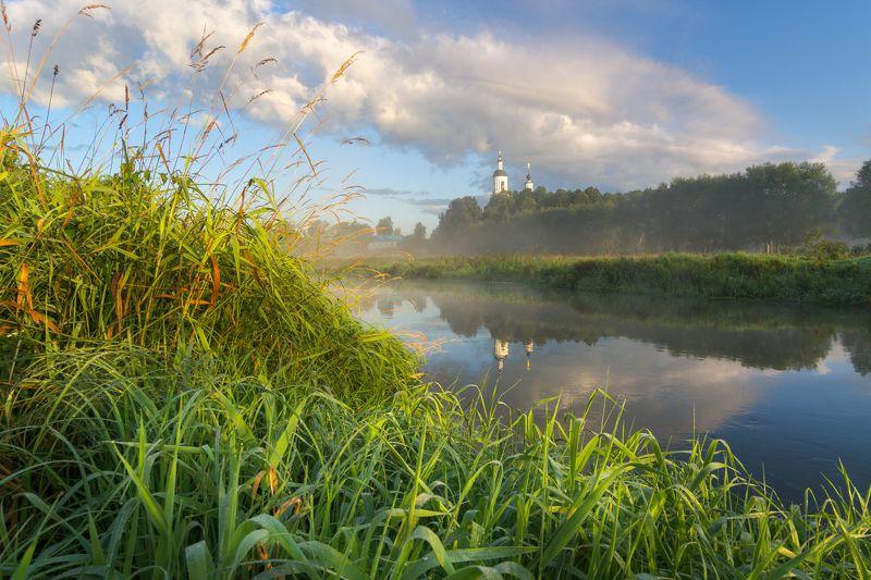 туман, московская область, утро, природа, пейзаж, лето, рассвет, солнце Утро на р. Шернаphoto preview