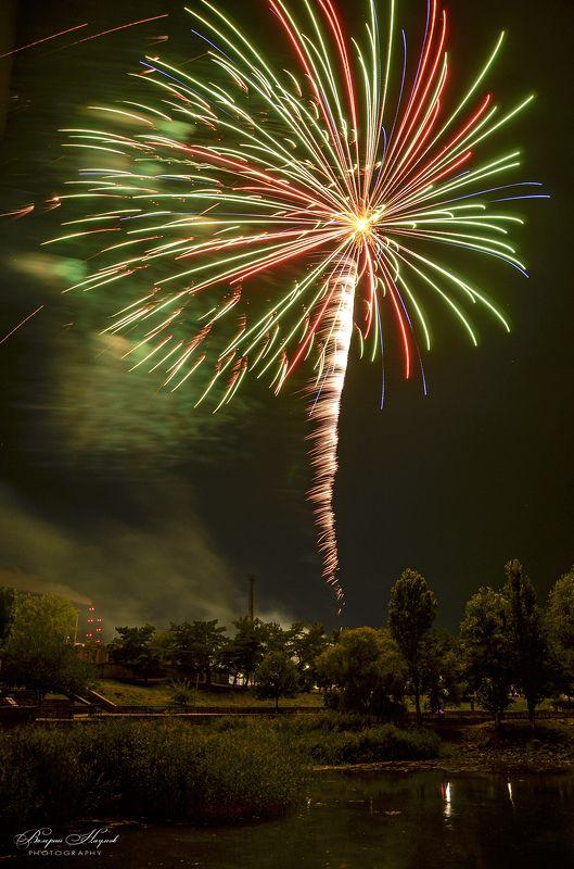 салют, праздник, парк, 24 августа, красиво Праздничная пальмаphoto preview