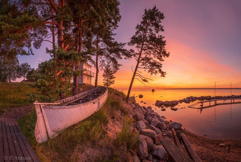 пейзаж, природа, море, эстония Ранним утром в рыбацкой деревне фото превью