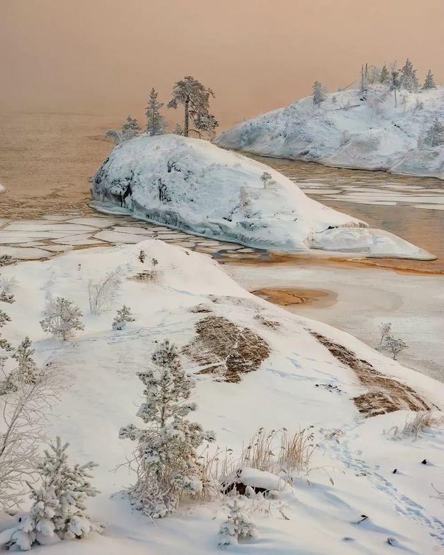 ладога, карелия, рассвет, шхеры, зима Цветной туманphoto preview