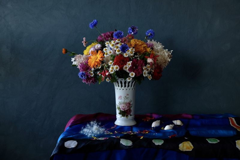 Still life, summer, nature, flowers, colors, flora, fuzz, pooh, shell, silk, vase, colorful,  Лета неуловимость...photo preview