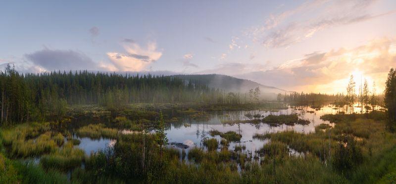 кольский, заполярье Закат на северных болотахphoto preview