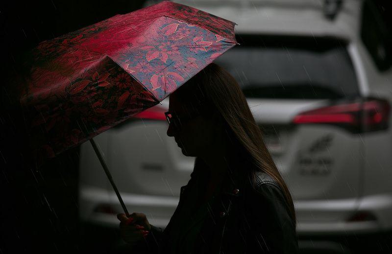 дождь, зонтик,   красный, стрит фото Дождьphoto preview