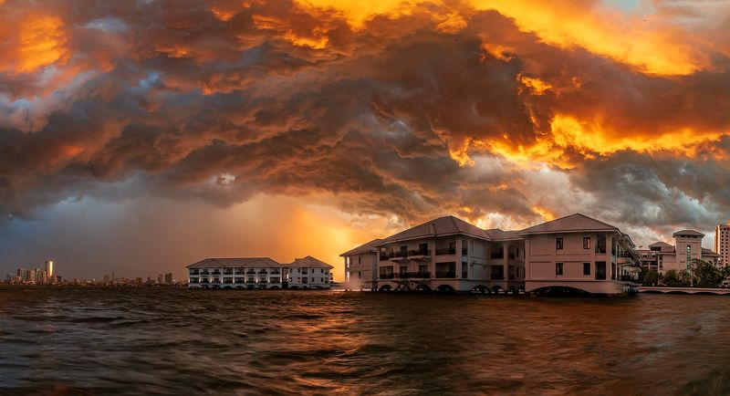 sunset, architecture, storm The thunderstorm in summer afternoonphoto preview