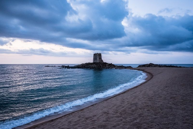 morning, sea, italy, sardegna, clouds, tower, nature, landscape, море, утро, облака, перед рассветом Before sunricephoto preview