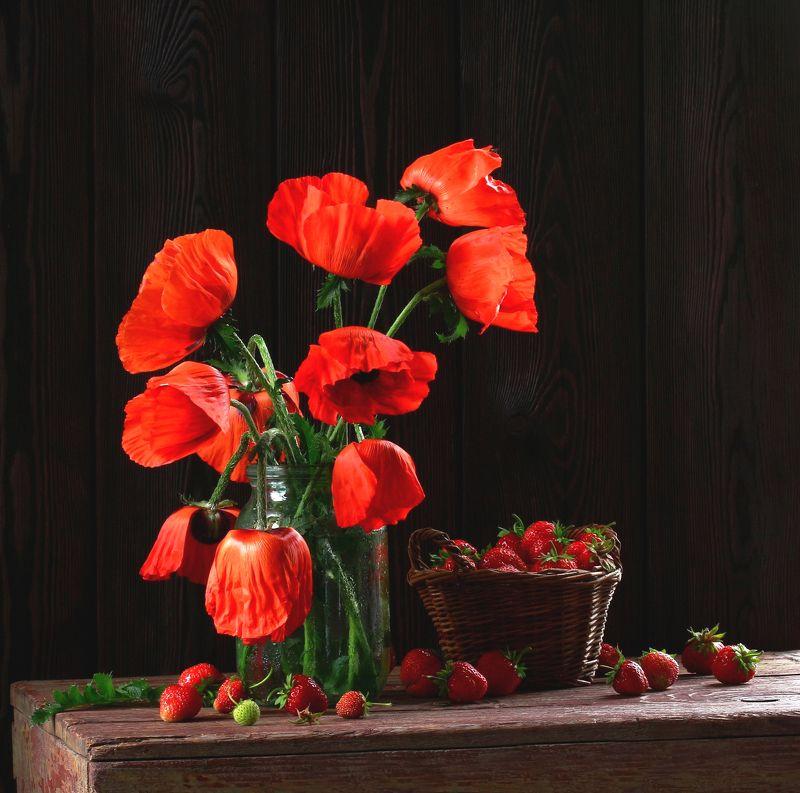 натюрморт, фотонатюрморт, лето, маки, цветы, ягода, клубника, наталья казанцева Красный излучает тепло!photo preview