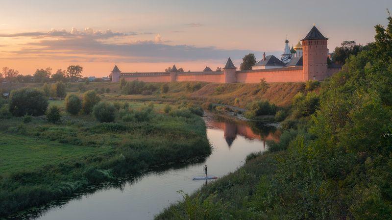 Суздаль, закат, монастырь, природа, речка, каменка, пейзаж, Россия Летний вечер в Суздалеphoto preview