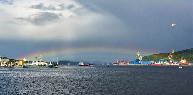Пейзаж, радуга,Кольский залив Ворота в Кольский заливphoto preview