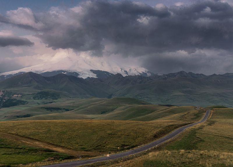 рассвет, горы, природа, эльбрус, пейзаж, дорога, лето, ***photo preview