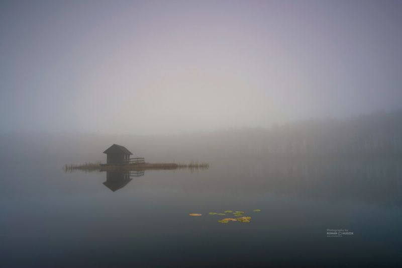 house, fog, landscape, sunrise, lake, water, A lonely house.photo preview