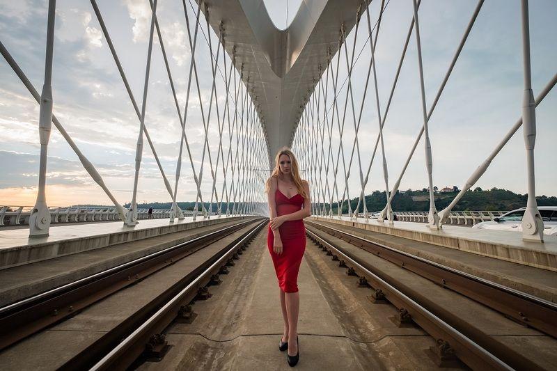 woman, portrait, city, prague, architecture, портрет, город. архитектура, прага, beautiful woman, street, bridge, red, On the bridgephoto preview