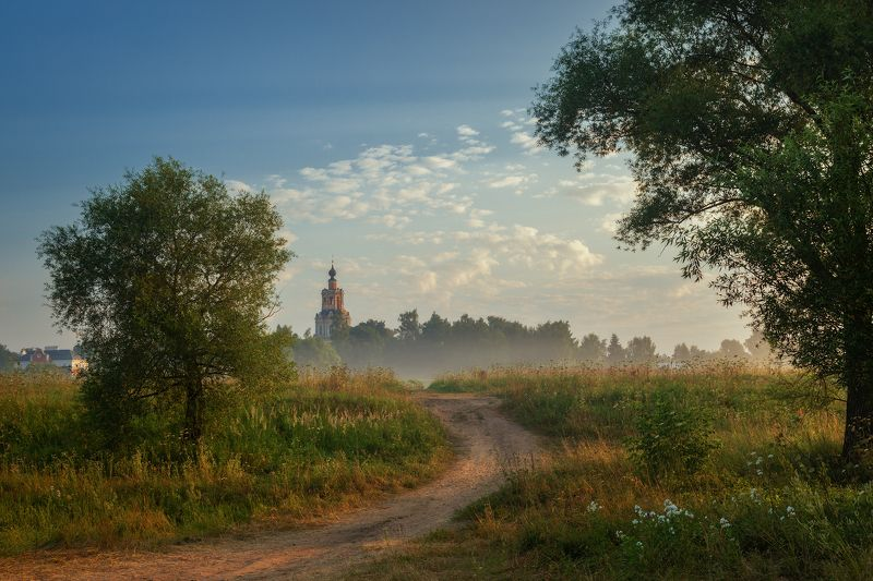 туман, храм, утро, подмосковье, уборы Утренний этюдphoto preview