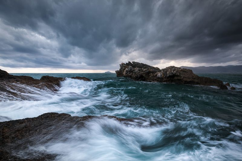 italy, liguria, gulf of poets, tellaro, la spezia, mediterranean, long exposure, sunset, sea, sun, sky, cloud, light, panorama, coast, landscape, amazing, scenic, travel, destination, wave, storm, rock Sea and Cloudsphoto preview