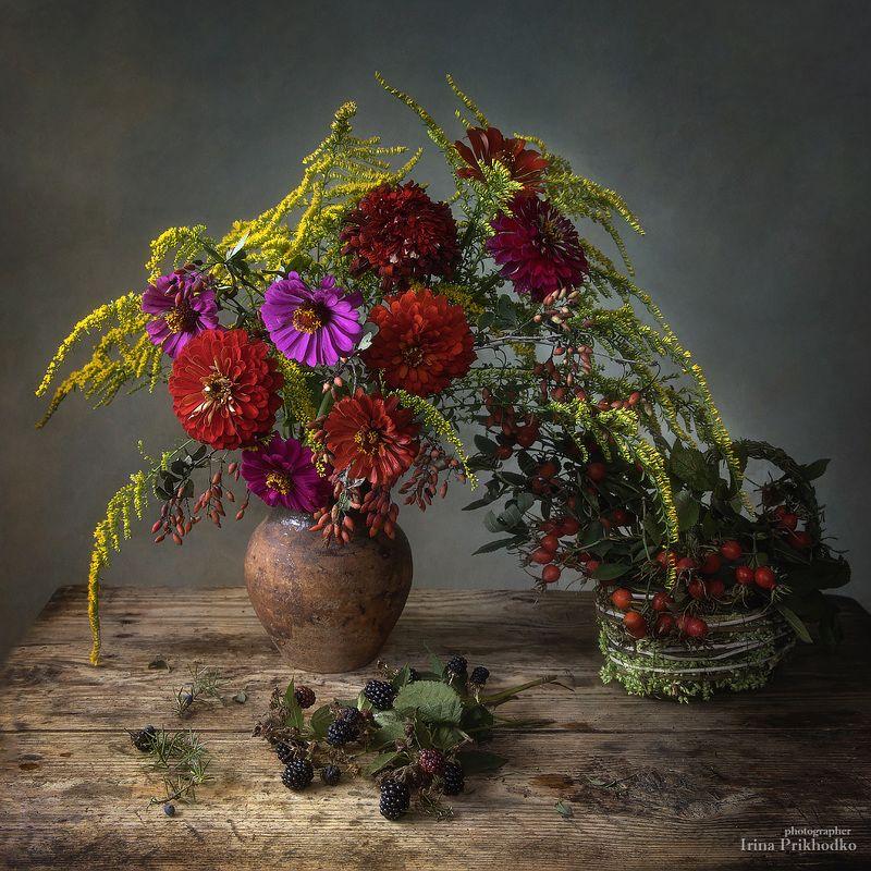 натюрморт, лето, цветы, ягоды, букеты, винтажный Прощание с летомphoto preview