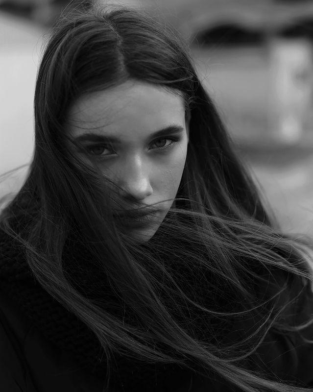 девушка, портрет, чб ***photo preview
