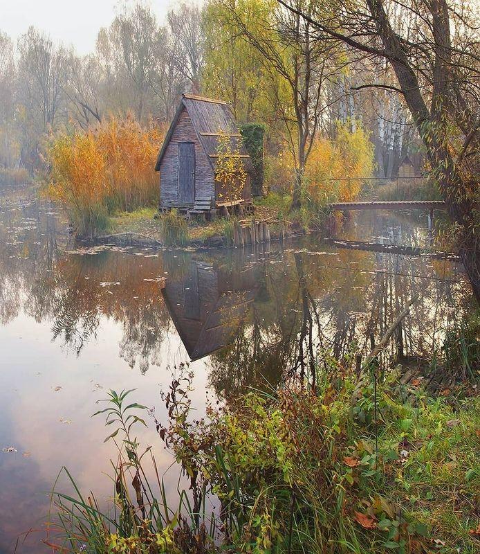 осень, туман. утро, деревня Рыбацкая деревняphoto preview