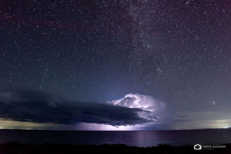 lightning, storm, star, starry night, night sky, starry sky, sky, lake, water, reflection, galaxy, Milky Way, night photography Wishing on a Starphoto preview