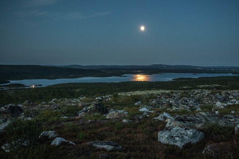 Ночь, Луна, Заполярье Лунная ночь в Заполярьеphoto preview