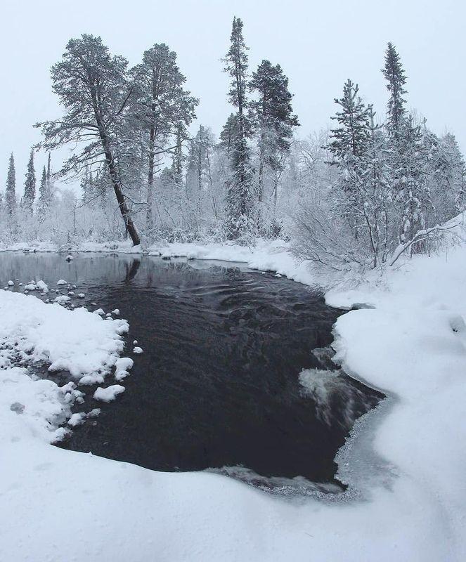 мороз, зима, река 50 оттенков серогоphoto preview