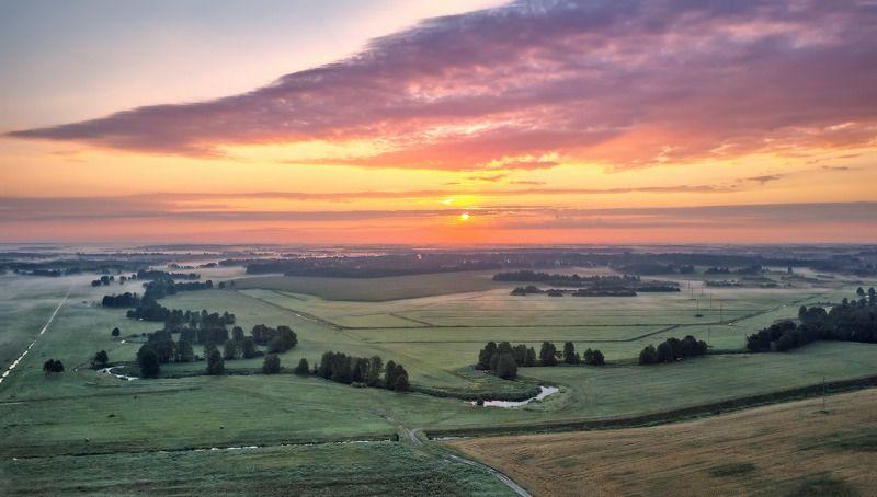 беларусь, июль, лето, поля, рассвет, река, туман, уса, утро Июльский рассветphoto preview