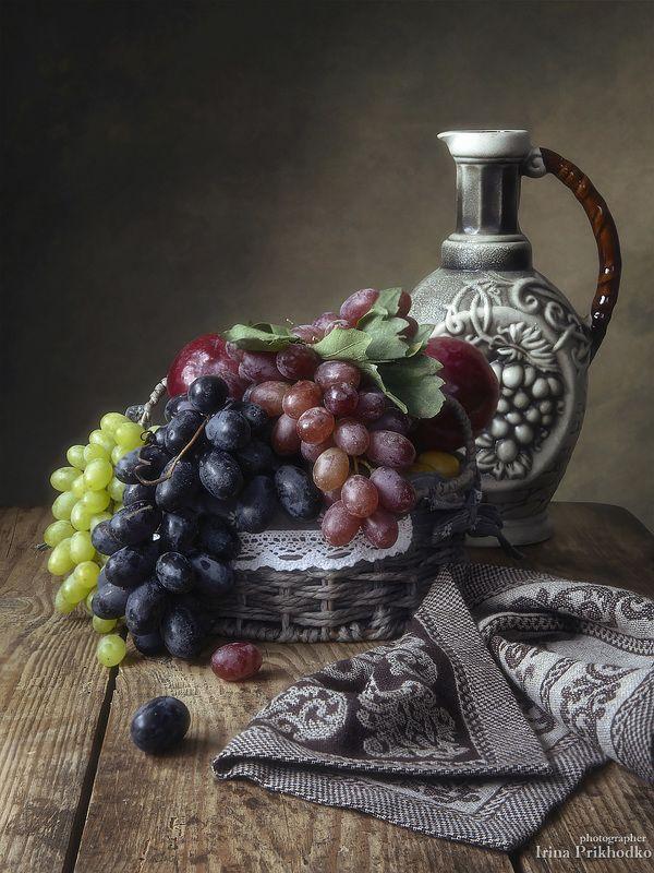 натюрморт, фрукты, виноград, винтажный Натюрморт с виноградомphoto preview