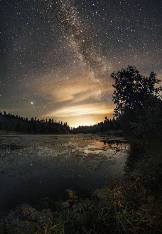 пейзаж, озеро, млечный путь, ночь Природа Удмуртииphoto preview
