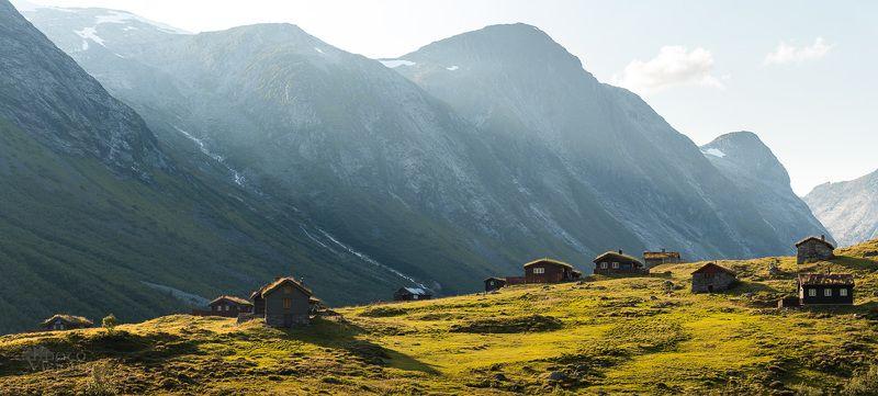 landscape,mountains,norway,summer,panoramic,settlement, Skjerdingdalssætra, Norway фото превью