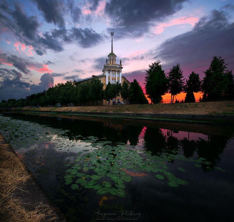 закат,вечер,архитектура,колпино,город,Санкт-Петербург,sunset,city,architecture,river,evening Вечер в Колпиноphoto preview