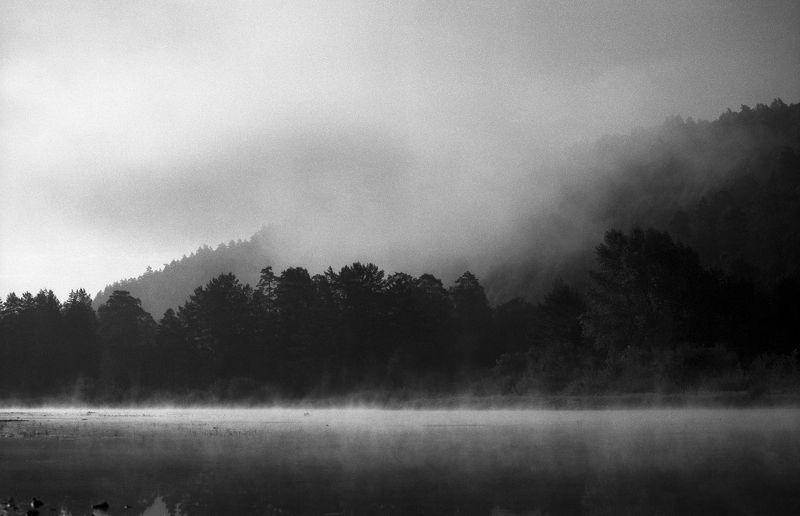 горы туман река Тума на реке Белаяphoto preview