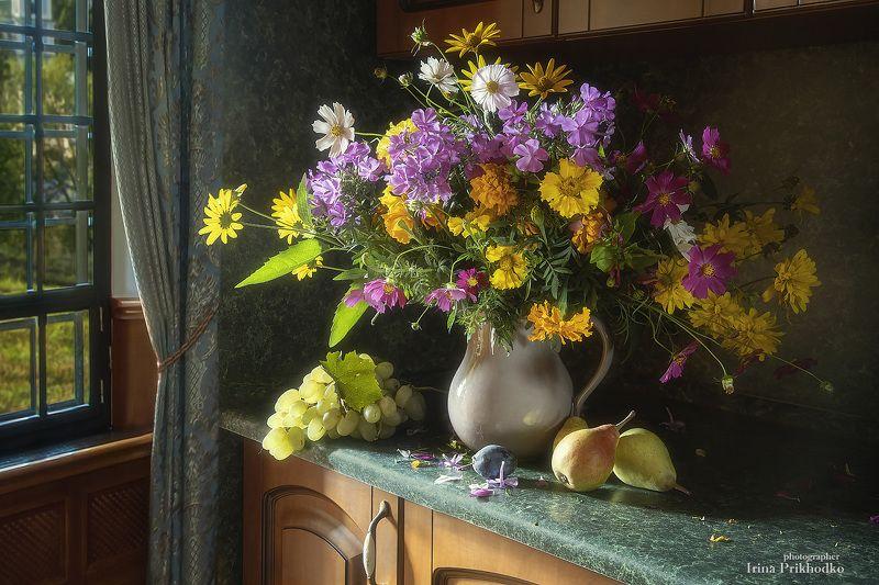 натюрморт, художественная фотография, букеты, цветы, фрукты Здравствуй, осень золотая!photo preview