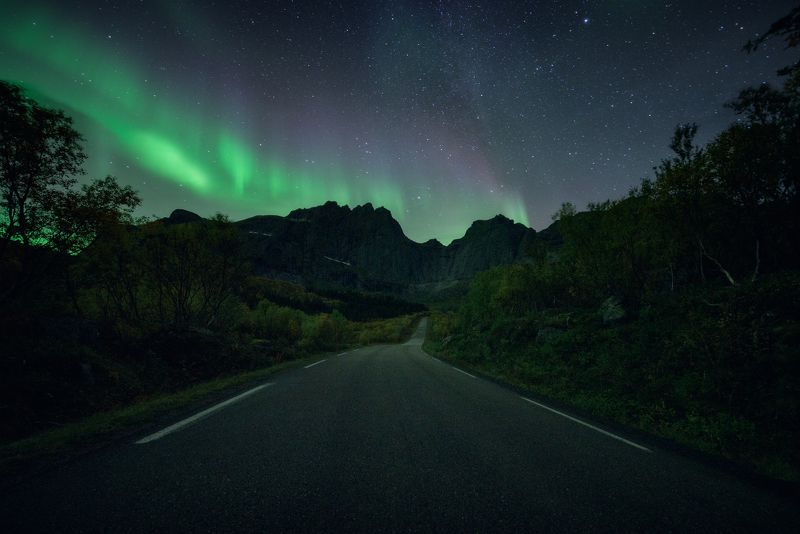 норвегия, северное сияние, пейзаж Аврораphoto preview