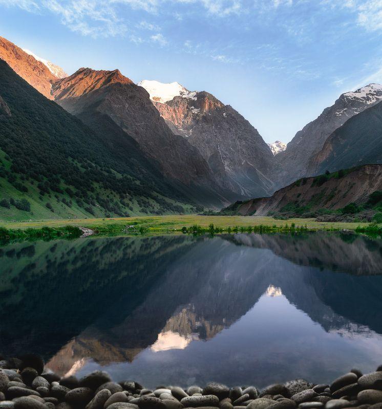 горы, природа, осетия, озеро, лето, кавказ, пейзаж, отражение, вечер, Верховья Гизельдонского ущельяphoto preview