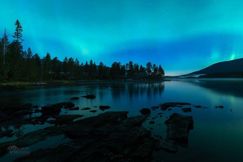 aurora,northern norway,norway,norwegian,night,nigt time,lake,night sky Auroral Night in Northern Norway фото превью