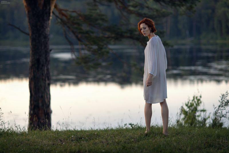 ведьма, русалка, иван купала, озеро, купальщица, рыжая, рыжая девушка, прозрачное платье, белая сорочка, природа, закат *** фото превью