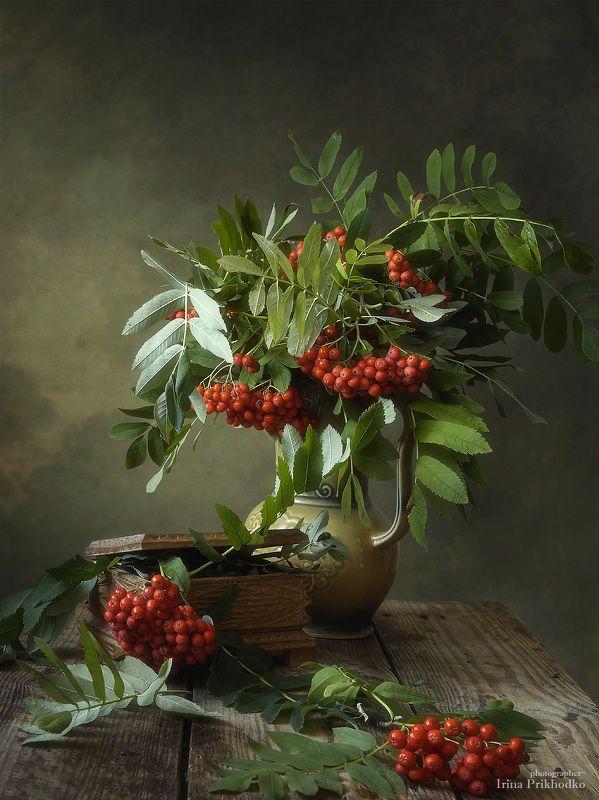 натюрморт, осень, настроение, рябина, винтажный Осенний натюрморт с рябинойphoto preview