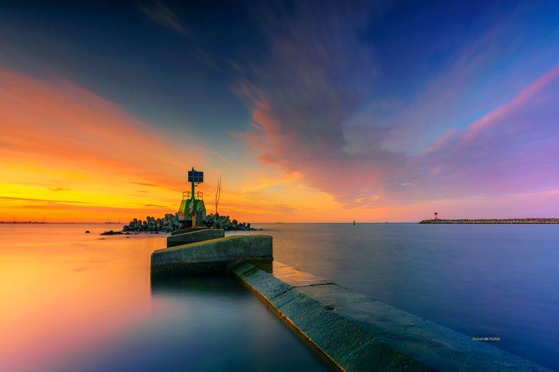 sea, landscape, Baltic Sea, water, sunset sky, breakwater Морские истории.photo preview