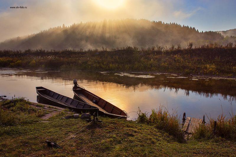пейзаж, природа, утро, туман, рассвет, река, лодка Встречая рассвет...photo preview