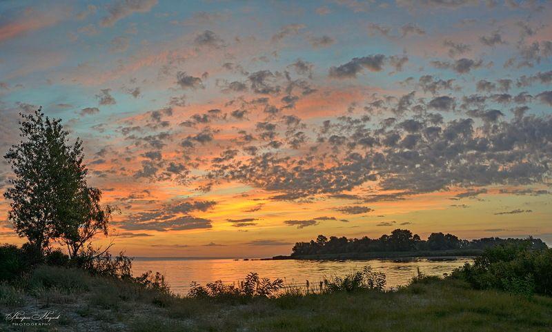 утро, рассвет, восход, небо, облака, река Утро сентябряphoto preview