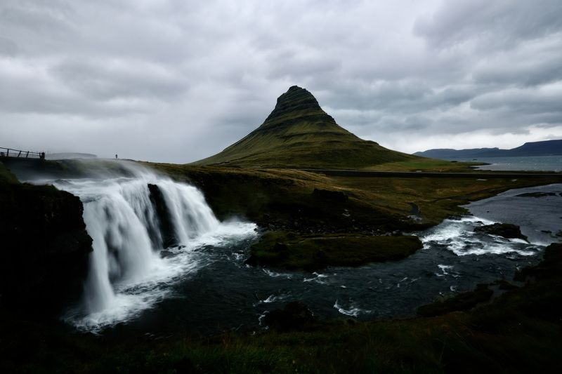 Landscapes, Iceland, waterfall, Kirkjufellsfoss, nature, dramatic, weather, mountain, water, river, clouds, sky, travel, Autumn, Fall,  Шторм у водопада. photo preview