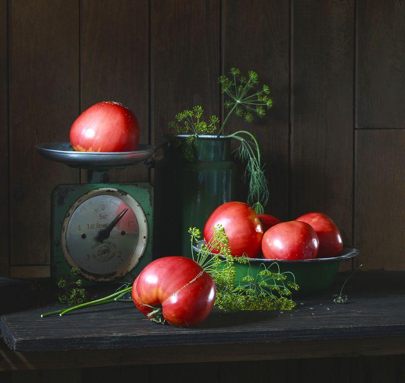 натюрморт, фотонатюрморт, лето, овощи, помидоры, томаты, укроп, весы, наталья казанцева Сама садик я садила...photo preview