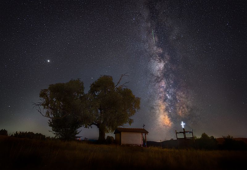 landscape, nature, scenery, night, stars, chapel, tree, cross, milkyway, longexposure, mountain, bulgaria Night connectionphoto preview