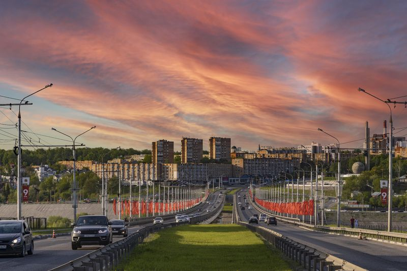 город, мост, Калуга Город на закатеphoto preview