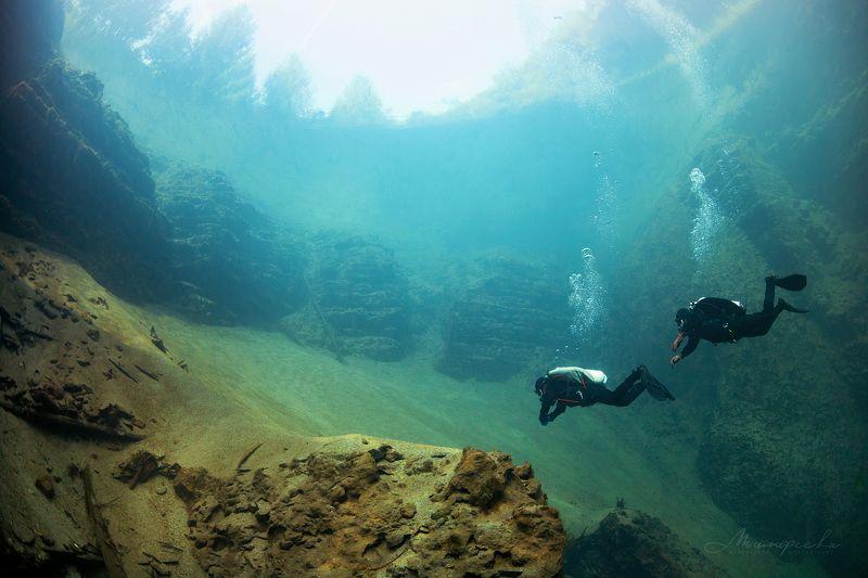 подводное фото, налим, вода, дайвер, источник Ландшафт Сарвыphoto preview