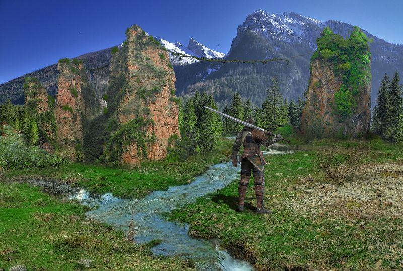 ручей, скалы, рыцарь *****photo preview