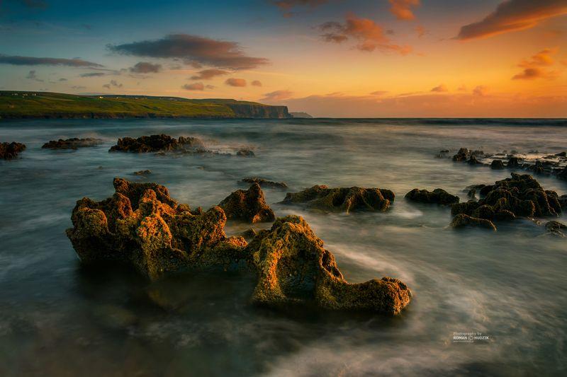 Ireland, rocks, landscape, sunset, sea, ocean, water, sky, long time. Irelandphoto preview